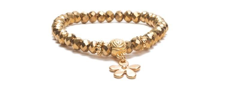 Armband mit Glasfacettrondellen Metallic Gold