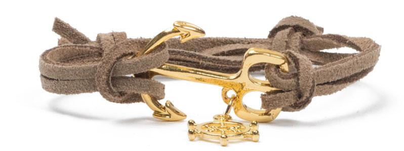 Ankerarmband Gold-Beige