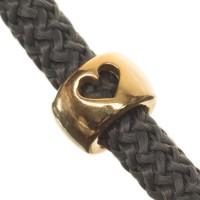 Metallperle Röhre mit Herz für 5 mm Segelseil, 9,5 x 9,5 mm, vergoldet
