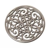 Metallanhänger Boho-Element filigran, 31 x 31 mm, versilbert