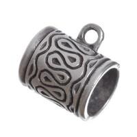 Metallperle mit Großloch, Röhre, 17 x 13 mm, versilbert
