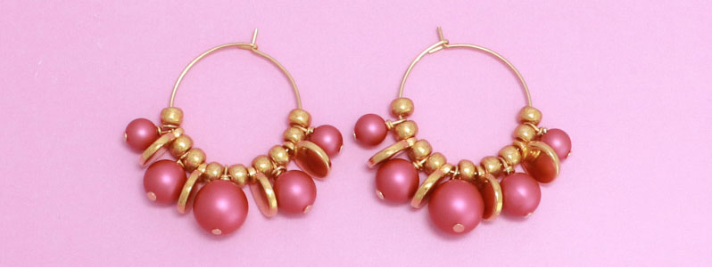 Ohrringe mit Crystal Pearls in mulberry pink