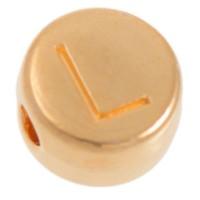 Metallperle, L Buchstabe, rund, Durchmesser 7 mm, vergoldet