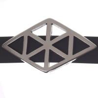 Metallperle Slider / Schiebeperle Raute Geometrie, versilbert, ca. 35 x 21 mm