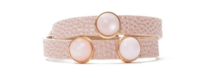 Armband Primrose Pink mit Slidern und Polariscabochons doppelt