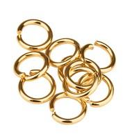 Edelstahl Binderinge, 5 mm, einfach gebogen, goldfarben, 10 Stück