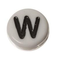 Kunststoffperle Buchstabe W, runde Scheibe, 7 x 3,7 mm, weiß mit schwarzer Schrift
