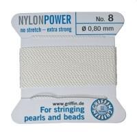 Perlseide, Nylon Power, 0,80 mm, weiß, 2 m
