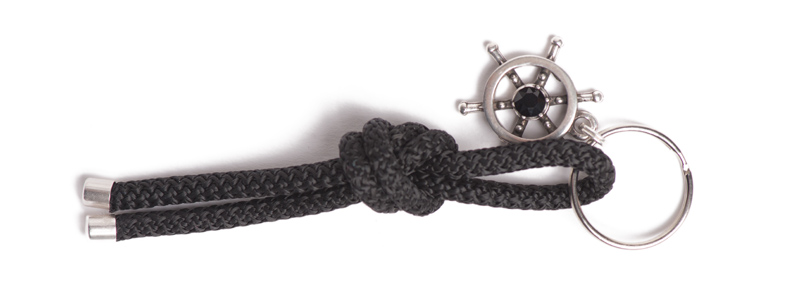 Maritimer Schlüsselanhänger aus Segeltau Knoten Schwarz