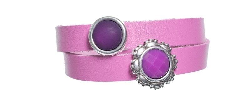 Leder-Armband mit Sliderperlen doppelt Lila