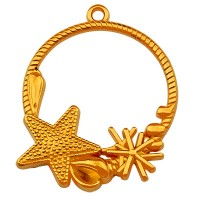 Metallanhänger Rund mit Muschel und  Seestern, 33 mm, vergoldet