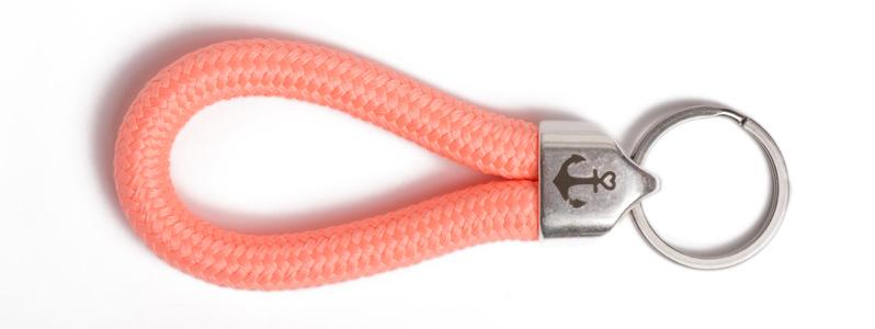Maritimer Schlüsselanhänger aus Segeltau Orange