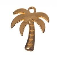 Metallanhänger Palme, Durchmesser 17 x 20 mm, vergoldet