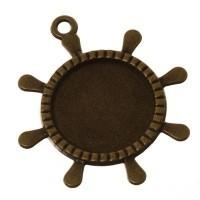 Anhänger/Fassung für Cabochons Steuerrad, 20 mm, antik bronzefarben