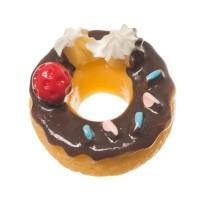 Kunststofffigur für Glaskugeln Donut, 14,5 x 15 x 10 mm, braun