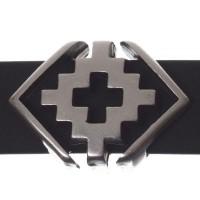 Metallperle Slider / Schiebeperle Raute Ethno, versilbert, ca. 19 x 14 mm