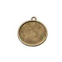 Anhänger/Fassung für Cabochons, rund 20 mm, antik bronzefarben