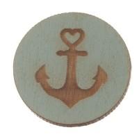 Holzcabochon, rund, Durchmesser 20 mm, Motiv Anker, hellblau