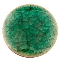 Keramikcabochon, Rund, blaugrün, Durchmesser 30, Höhe 3,5 mm