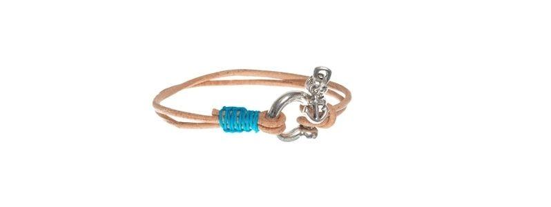 Armband mit Lederband natur/türkis