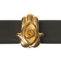 Metallperle Mini-Slider Hamsa, vergoldet, 8,5 x 7,0 mm, Durchmesser Fädelöffnung:  5,2 x 2,0 m