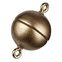 Magic-Power-Magnetverschluss Kugel 10 mm, mit Ösen, goldfarben matt