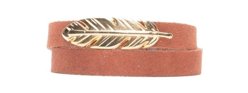 Craft Lederarmband Feder Vergoldet