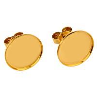 Paar Ohrstecker mit Titanstift und Flachbodenfassung für runde Cabochons 12 mm mit Stopper,  vergold