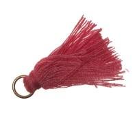 Quaste/Troddel, 25 - 30 mm, Baumwollgarn mit Öse (goldfarben), rosa