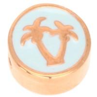 Metallperle rund mit Palmmotiv, Durchmesser 9,0 mm, vergoldet und veraman emailliert