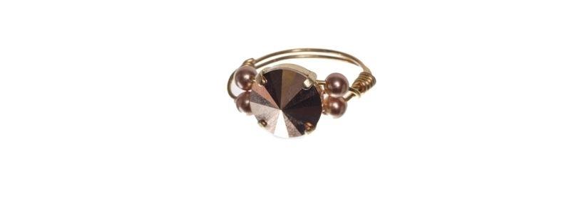 Goldige Ringe mit Swarovski Rivoli Rose Gold