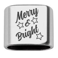 """Zwischenstück mit Gravur """"Merry & Bright"""", 20 x 24 mm, versilbert, geeignet für 10 mm Segelseil"""
