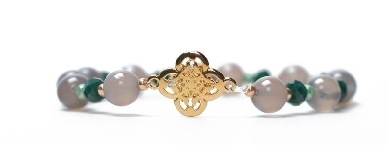 Edelsteinarmband mit Armbandverbinder Ornament