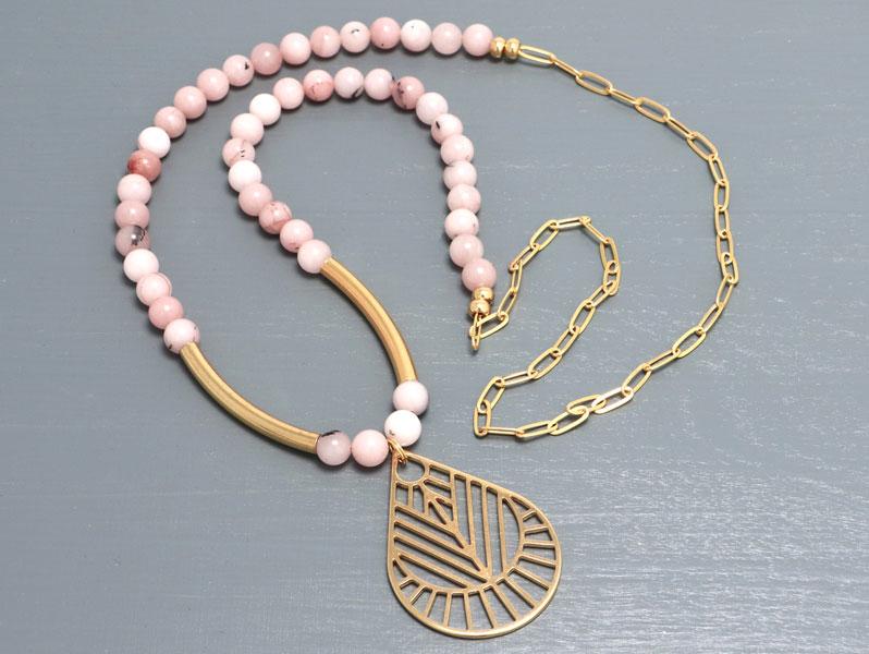 New Geometric - Geometrische Halskette Rosa