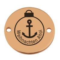 """Coin Armbandverbinder Weihanchten """"Weihnachten Ahoi"""", 15 mm, vergoldet, Motiv lasergraviert"""