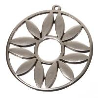 XXL-Metallanhänger Scheibe mit Ornament, 43 x 40 mm, versilbert