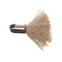 Quaste/Troddel, 18 mm, Baumwollgarn mit Endkappe (silberfarben), beige