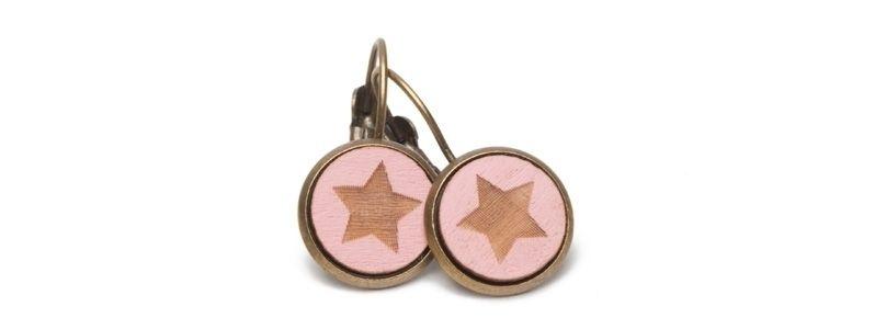 Ohrhänger mit Holzcabochons Sterne II