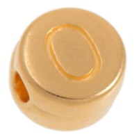 Metallperle, O Buchstabe, rund, Durchmesser 7 mm, vergoldet