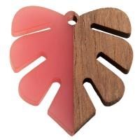 Anhänger aus Holz und Resin, Monstera Blatt, 30,0 x 28,0 x 3,5 mm, Öse 2,0 mm, pink