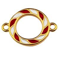 Armbandverbinder, Weihnachten, 20,5 x 14,5 mm, emailliert, vergoldet
