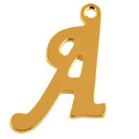 Buchstabe: A, Edelstahlanhänger in Buchstabenform, goldfarben, 14 x 11,5 x 1 mm, Lochdurchmesser: 1