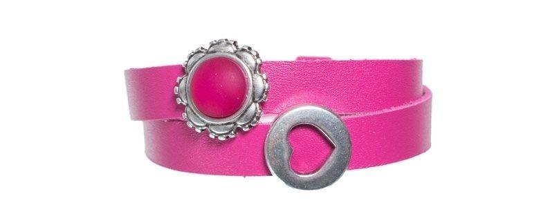 Leder-Armband mit Sliderperlen doppelt Himbeer