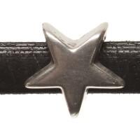 Metallperle Mini-Slider Stern, versilbert, ca. 9 x 9 mm