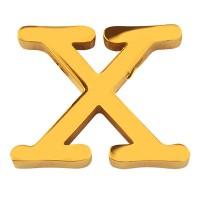 Buchstabe: X, Edelstahlperle in Buchstabenform, goldfarben, 11,5 x 15 x 3 mm, Lochdurchmesser: 1,8 m