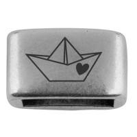 """Zwischenstück mit Gravur """"Papierboot"""", 14 x 8,5 mm, versilbert, geeignet für 5 mm Segelseil"""